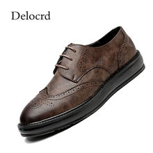 21f9869158 2018 Primavera Outono Homens Moda Couro Sapatos Casuais Estilo Britânico  Sapatos de Couro Macio Masculino Sapatos