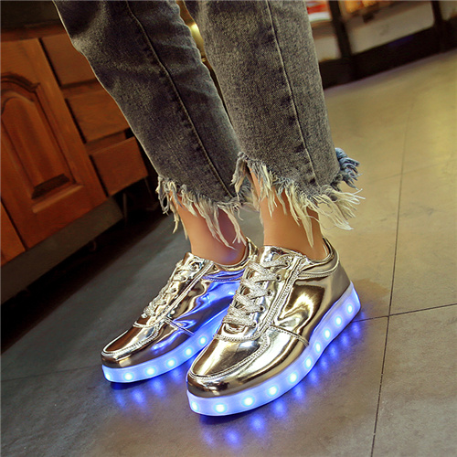 YPYUNA Gold Led luminous sneakers children High-quality Casual light up shoes for kids tenis basket chaussures glowing sneakers ...