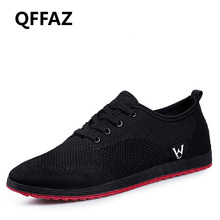 QFFAZ Spring/Summer Men Shoes Breathable Men Shoes Casual Fashion Lace-up Mesh Shoes Flats tenis masculino adulto Big Size 38-45