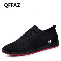 QFFAZ Spring/Summer Men Shoes Breathable Men Shoes Casual Fashion Lace up Mesh Shoes Flats tenis masculino adulto Big Size 38 45