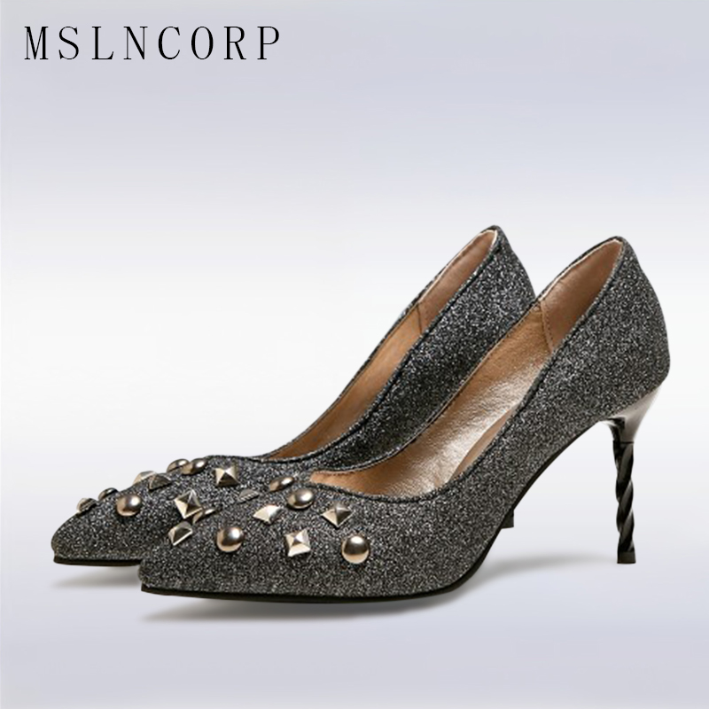 Size 34-48 Fashion Womens Metal Rivet Thin High Heels Stiletto Glitter Wedding Pumps Pointed Toe Bling Ladies Dress Party Shoes zorssar 2018 new fashion bling womens shoes high heels platform sexy thin heels pointed toe pumps ladies party wedding shoes