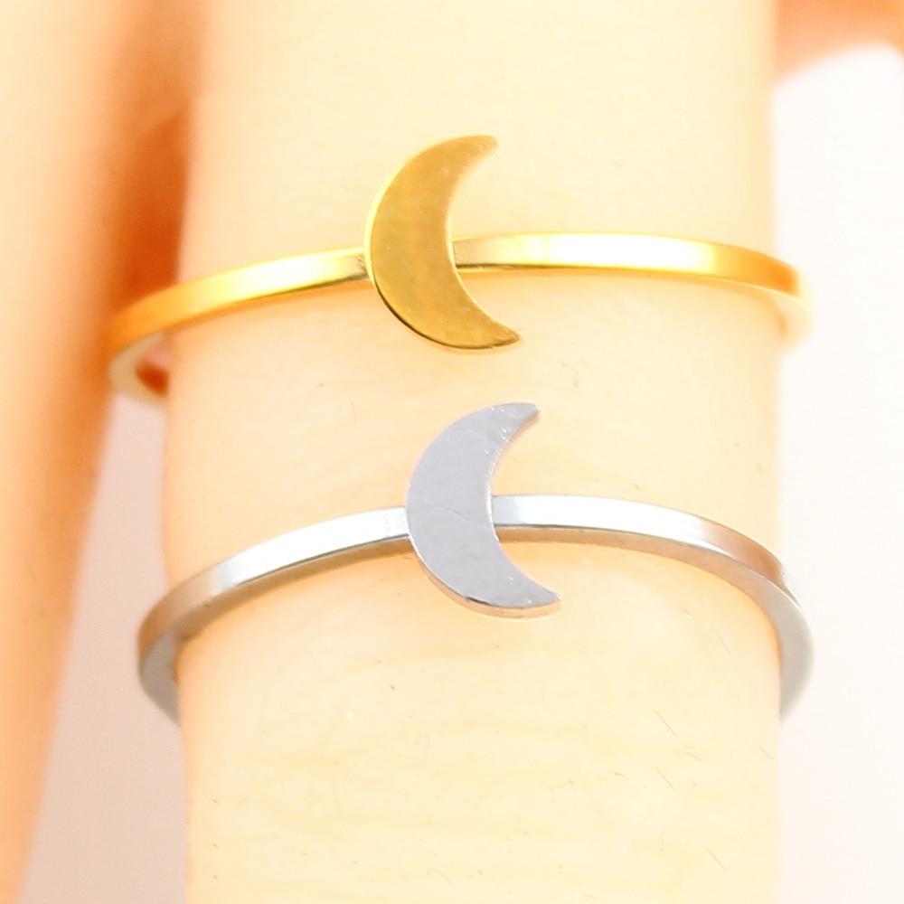 Кольцо в форме сердца с буквами, ювелирные изделия из нержавеющей стали, кольцо для аксессуаров, Серебряное Золотое кольцо на палец, набор ювелирных украшений для женщин - Цвет основного камня: moon-1