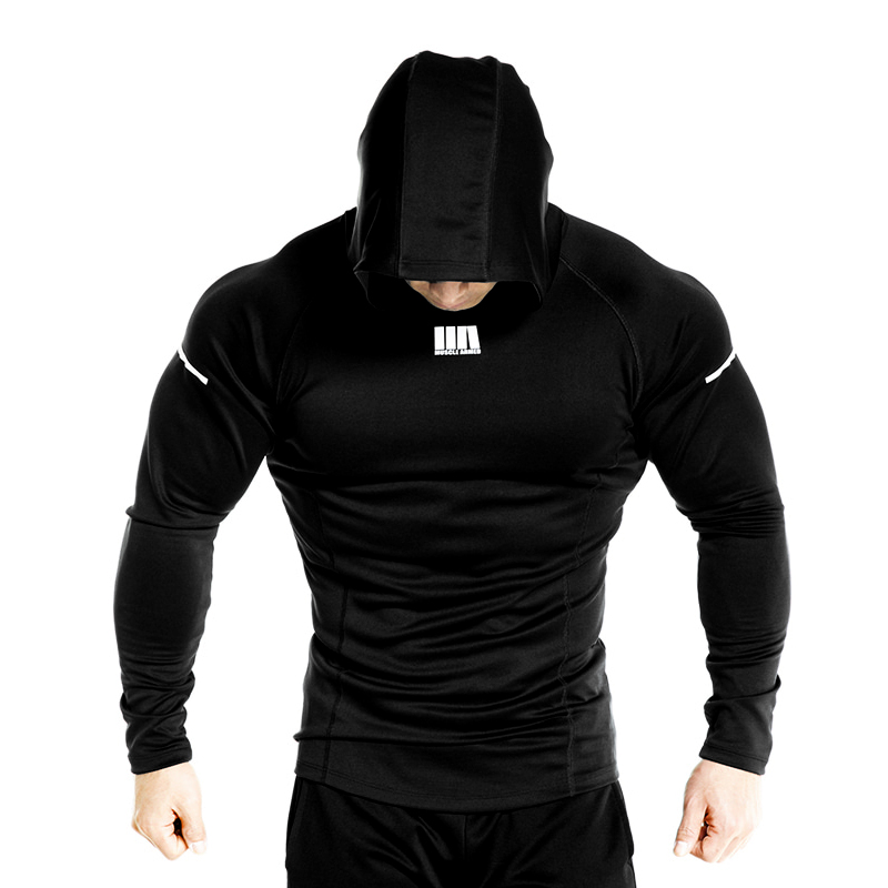 Men Brand Solid Color Hoodies Fashion Casual Gyms Fitness Hooded Jacket Male Lycra Sweatshirts Sportswear Clothing