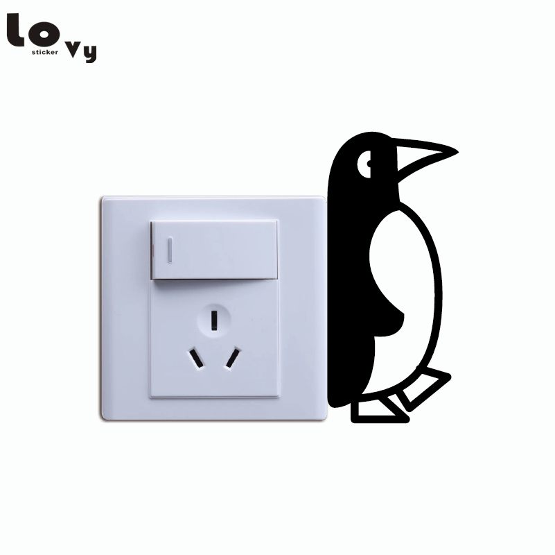 Cute Penguin Switch Stikcer Cartoon Animal Vinyl Wall Stickers for Kids Room Bedroom Home Decor