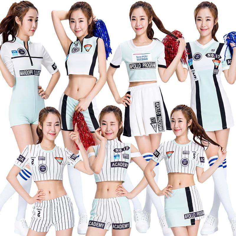 Girls Cheer Leader Crop Tops Outfit Bodysuit Sexy Japanese Korean