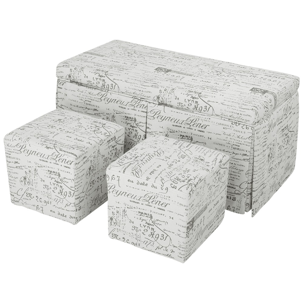LANGRIA Beige 3 Piece French Script Patterned Fabric Storage Bench And Cube  Ottoman Set Footrest