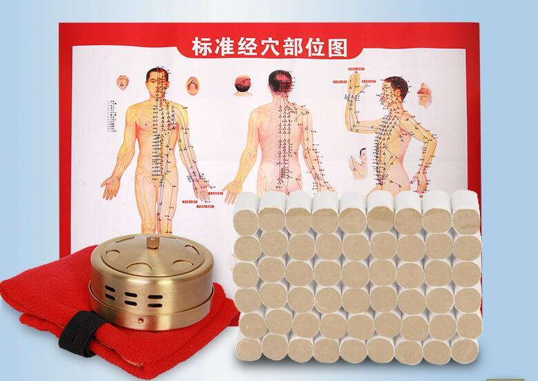high quality Copper box with 54 pcs moxa roll moxibustion set acupuncture massage eye and facial massage 7mm diameter copper moxibustion rod beauty spa with 10 pcs moxa stick acupuncture map