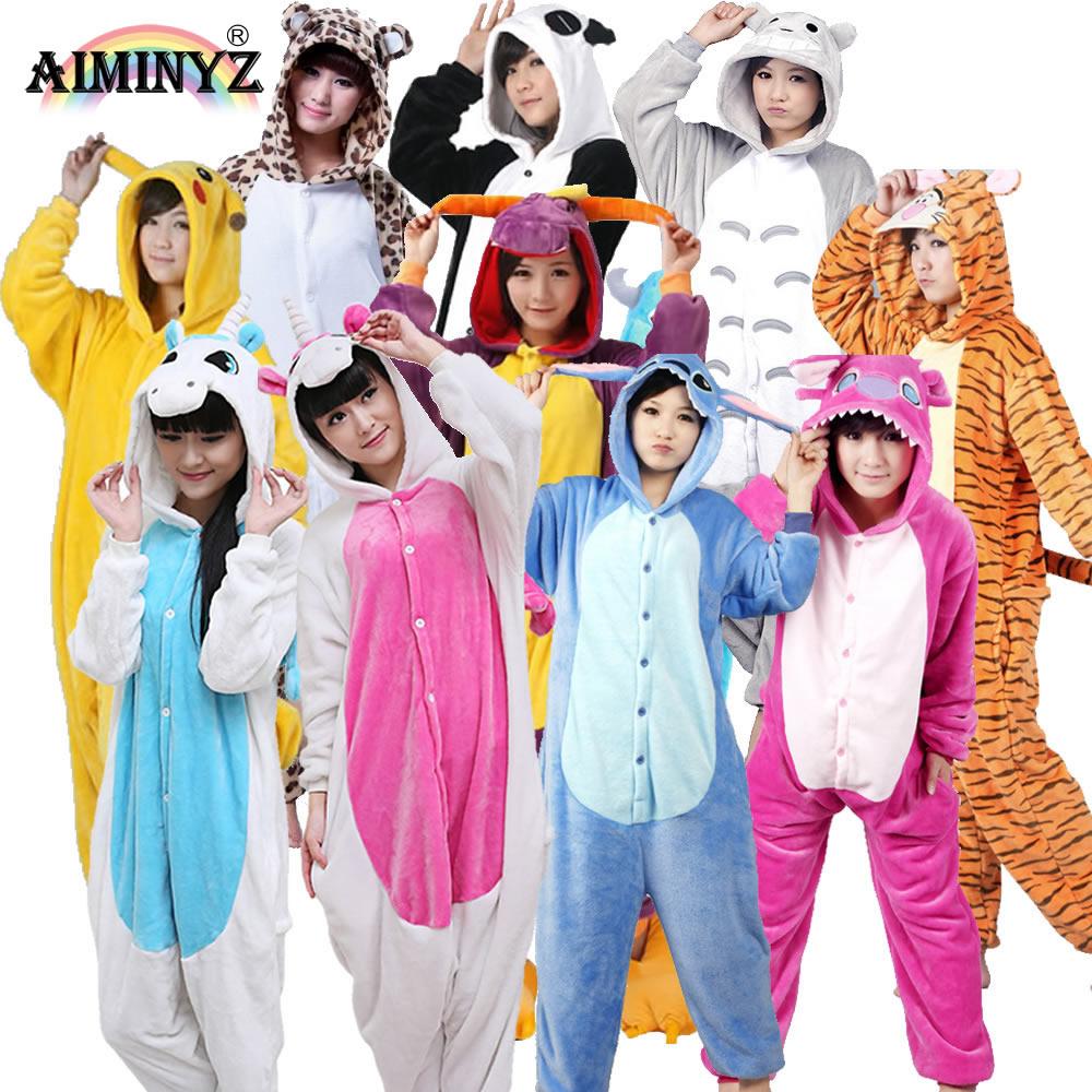 Wholesale Uni Unicorn Pegasus Stitch Panda Dinosaur Flannel Pajamas Sets Animal Cartoon For Men Women