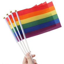 500Pcs 14*21Cm A plastic Stick Rainbow Hand flag/ Car Flags/American flag Lesbian Gay Pride Cheerleading Competition Products(China)