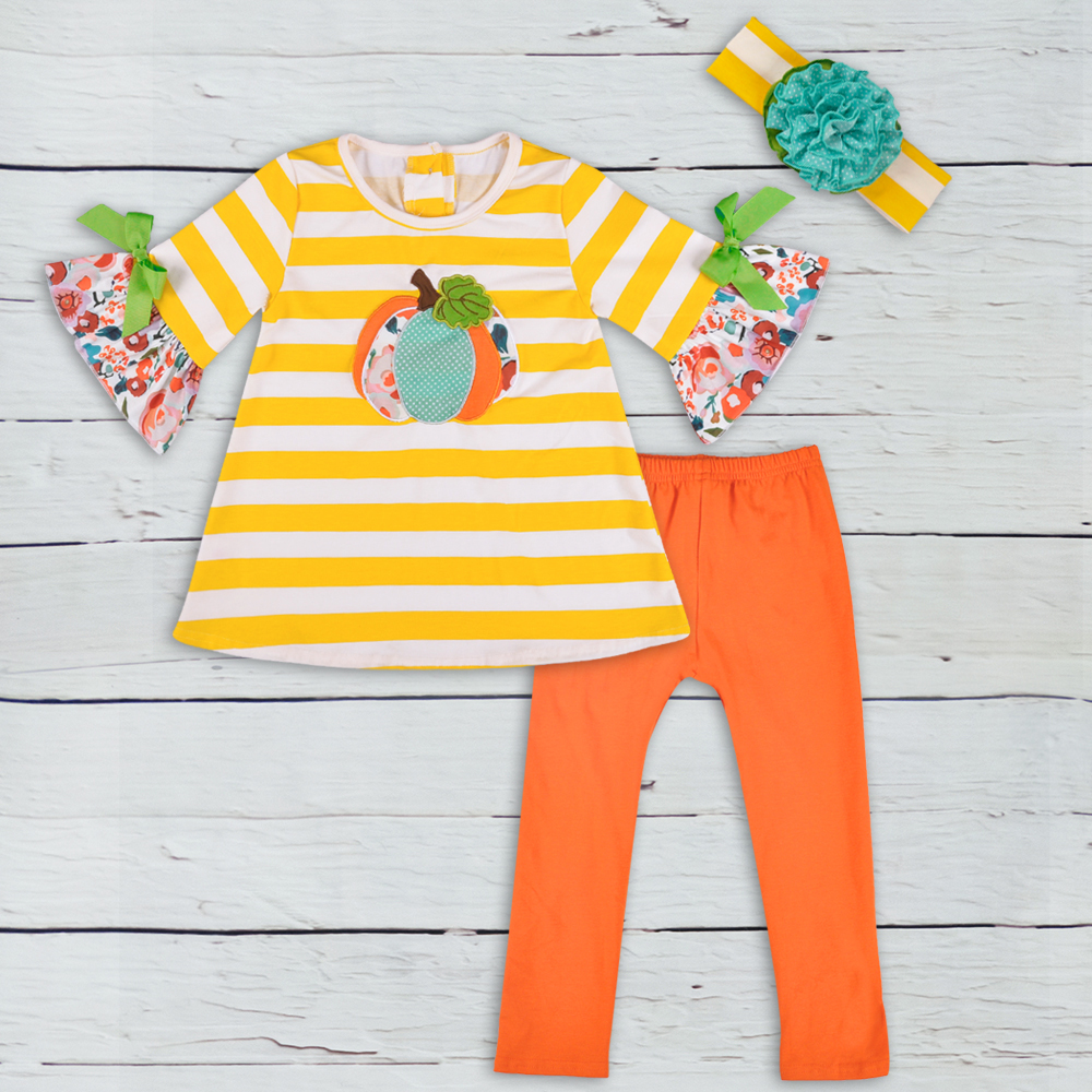 halloween baby clothes boutique outfits pumpkin pattern striped tops solid pants girls cotton clothing sets2GK806-398 kids outfits letter pattern tops in white