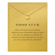 2018 Hot Sparkling good lucky elephant Pendant necklace gold color Clavicle Chains Statement Necklace Women Jewelry (Has card)(China)