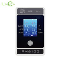 ilincare PM6100 ICU Patient Monitor Vital Signs Monitor ECG NIBP SPO2 PR 4 Parameters Pulse and Blood pressure Monitor Handheld