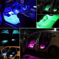led music 4pcs Car RGB LED Strip USB Port Interior Light Multicolor Music Atmosphere Sound Active Function LED Strip LED Lighting (4)