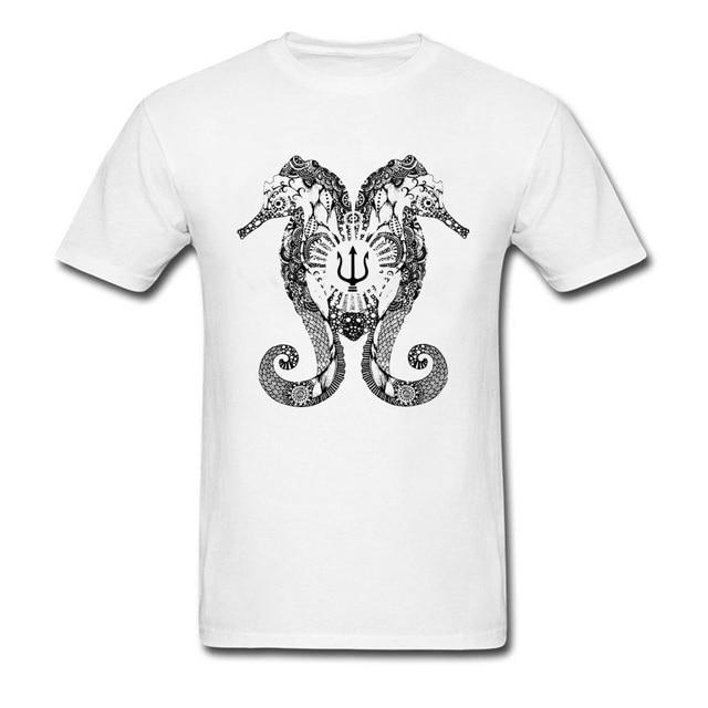 Summer T Shirt Tritons Seahorse Shirts Men Birthday TShirt 2018 Hot Sale Clothes Anchor Tattoo Tops Chic Cotton Streetwear