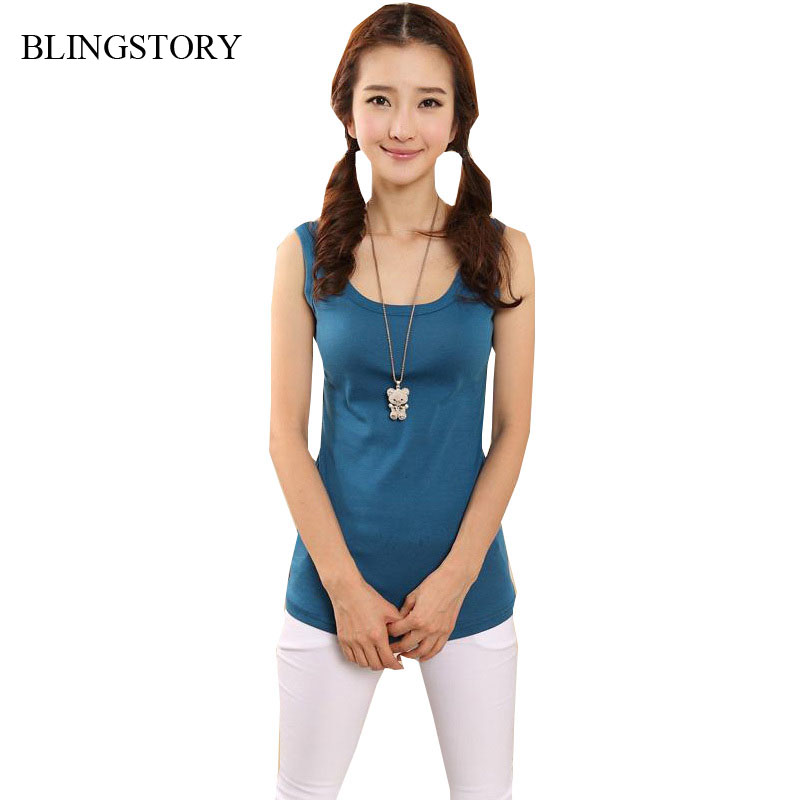 Blingstory Hot Sale fashion top candy color cotton sexy vest tank women's plus size tops S-6XL Dropship YLM5522