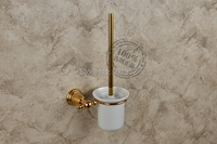 Free Shipping Bathroom Accessories Solid Brass Gold Plate Toilet Brush Holder With Cup North America Style