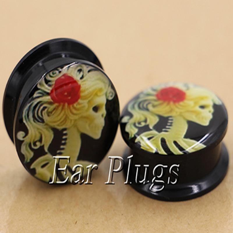 1 pair female skull ear plug gauges tunnel acrylic screw flesh tunnel body piercing jewelry PAP0574