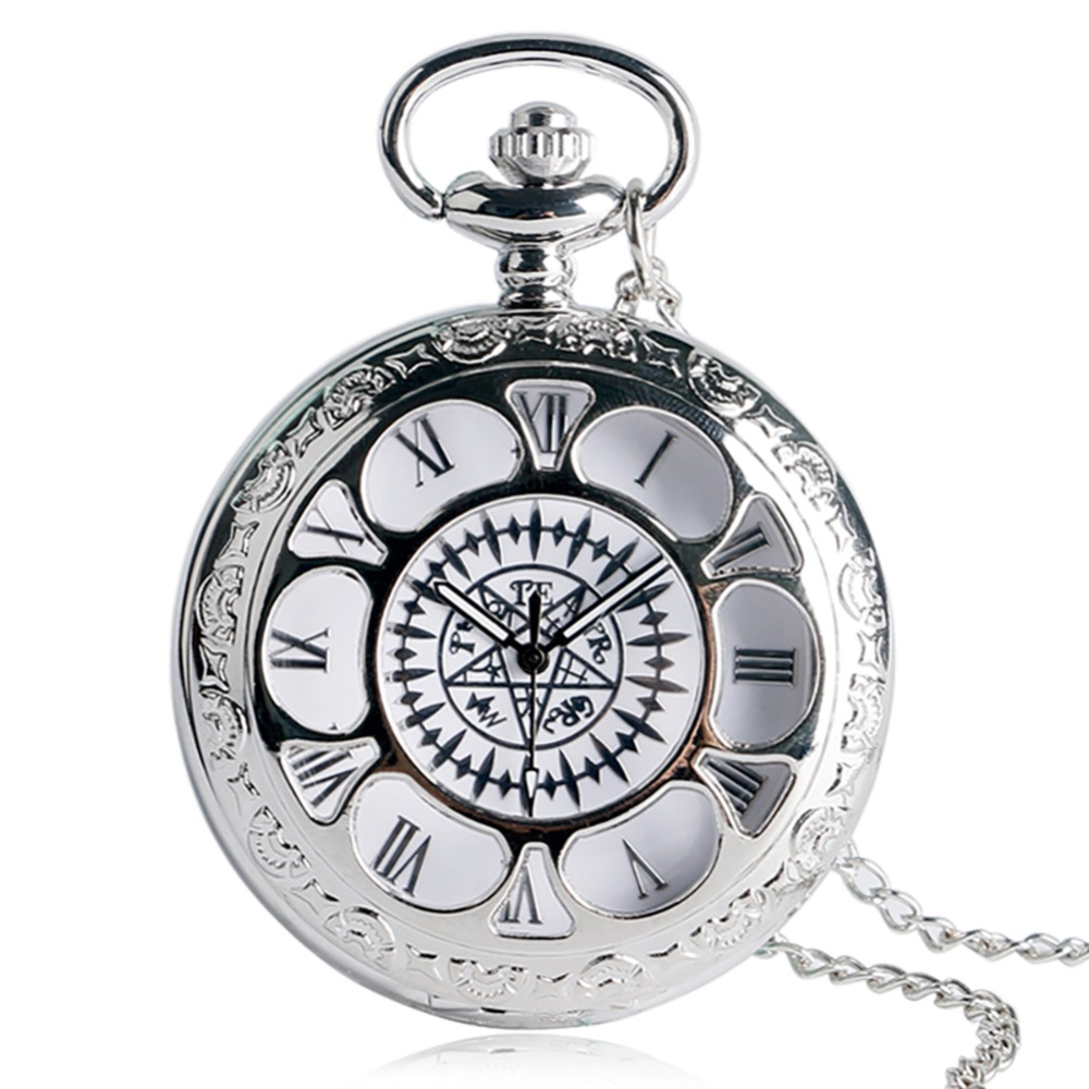 Pocket Watches Silver Elegant Hollow Silver Quartz Pocket Watch Women Necklace Pendant For Girl Laid Gift