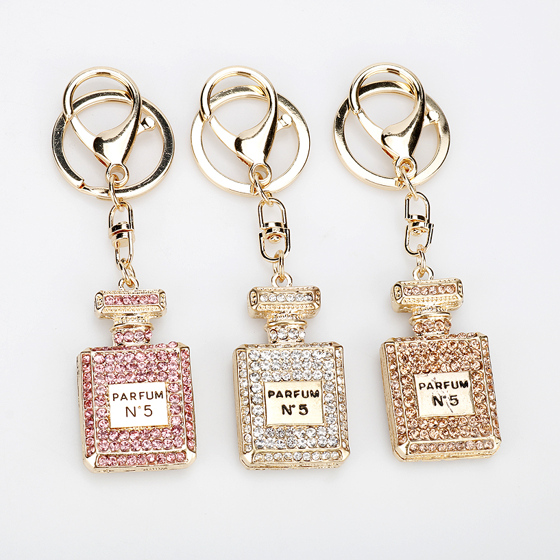 Fashion Perfume Bottle Keychain Jewelry 3 Colors Rhinestone Crystal Twinkling Keyring Girls Souvenirs Handbag Charm Pendant Gift