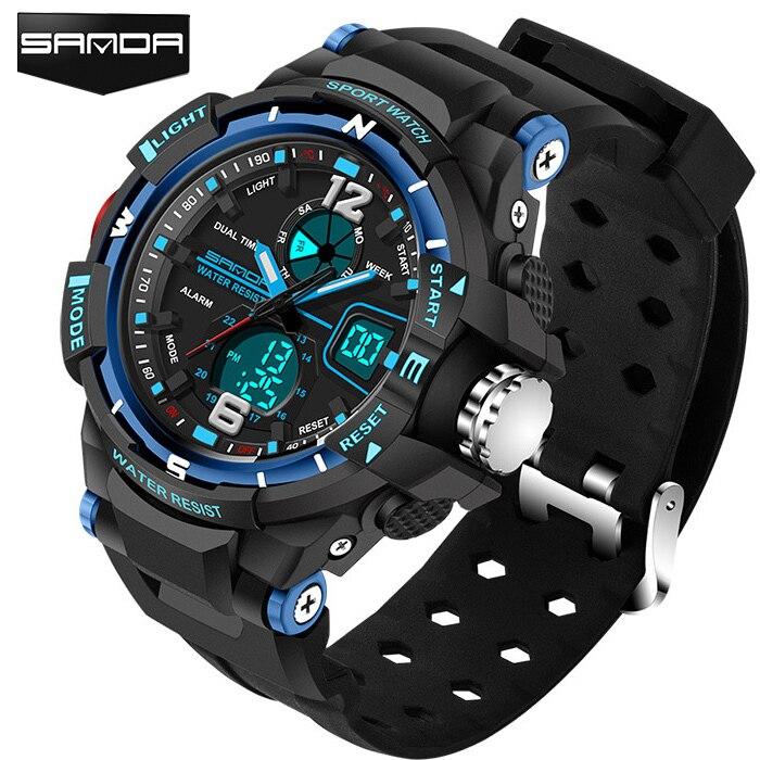 SANDA Sport Montre Hommes 2018 Horloge Mâle LED Numérique Bracelet À Quartz de Montres Hommes Top Marque De Luxe Numérique-montre Relogio Masculino