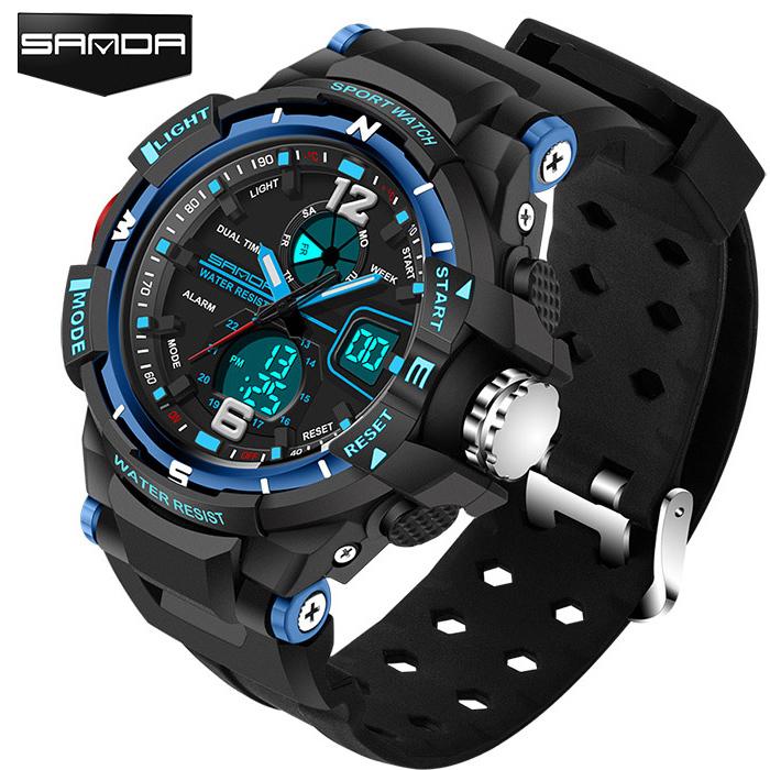 Prix pour Sanda sport montre hommes 2017 horloge mâle led numérique bracelet à quartz de montres hommes top marque de luxe numérique-montre relogio masculino