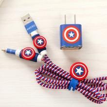 USB Кабель Наушников Протектор с Кабельным Winder Мультфильм USB кабель зарядного устройства шнур протектор Для iphone 5 5S 6 6 s Plus