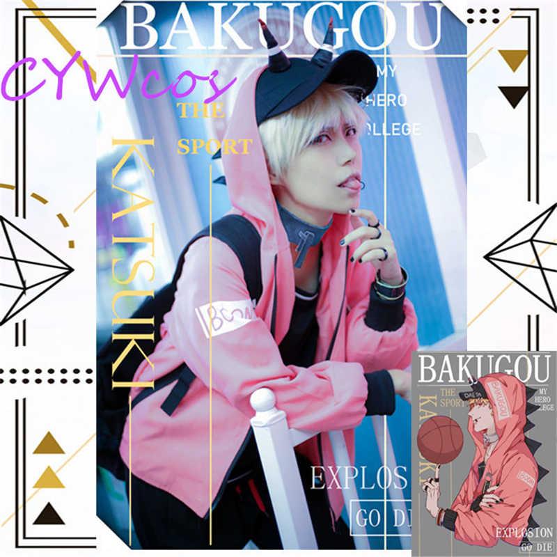 Meu herói academia dai ly bakugo katsuki cosplay traje de inverno e outono ternos diários anime trajes superior + casaco + calças + chapéu