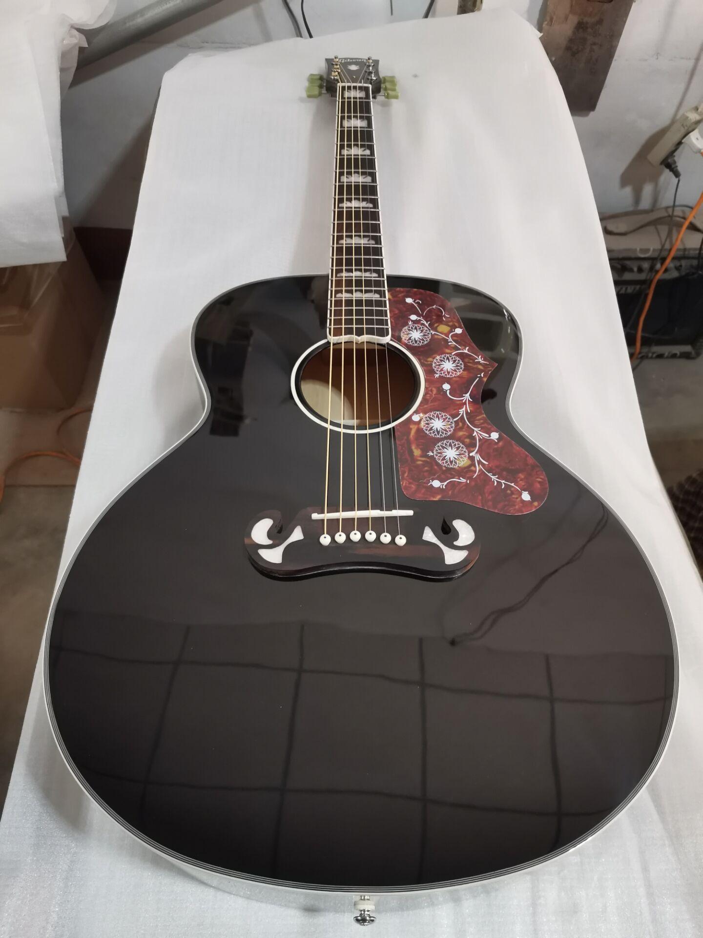 free shipping custom J180 jumbo 6 strings gloss black finish acoustic electric guitar J200 style guitar(China)