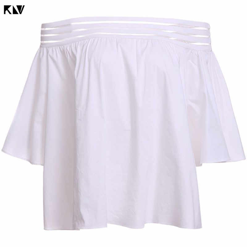KLV Spring Summer Sexy Off The Shoulder Shirt 5 Rows Anti-Slip Rubber Band Solid Color Pullover Tops Flare Sleeves Blouse