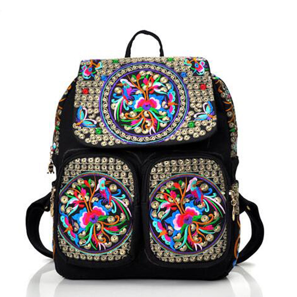 New ethnic embroidery backpack Peony Floral Coins embroidered backpack canvas Shoulder bag Travel Rucksack schoolbag mochila chinese hmong boho indian thai embroidery brand logo backpack handmade embroidered canvas ethnic travel rucksack sac a dos femme
