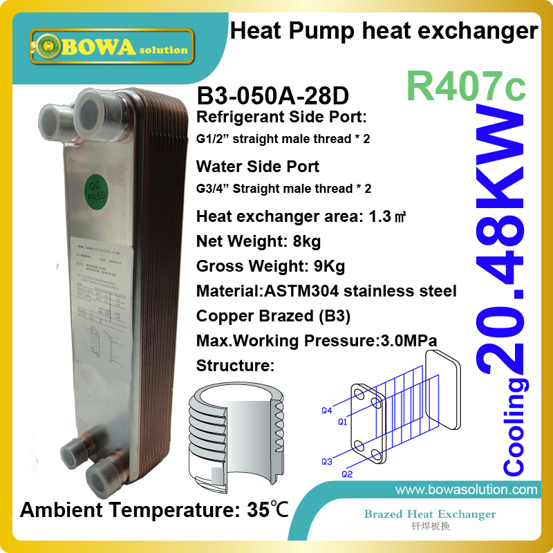 20.5KW cooing capacity evaporator is installed in varous heat pump air conditioners, replacing SPX heat exchanger or other PHEs 11kw heating capacity r410a to water and 4 5mpa working pressure plate heat exchanger is used in r410a heat pump air conditioner