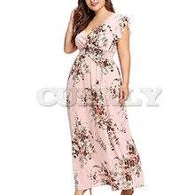 CUERLY Women Plus Size Summer V Neck Floral Print Boho Sleeveless Party Maxi Dress long comfortable breathe fashion sexy dresses