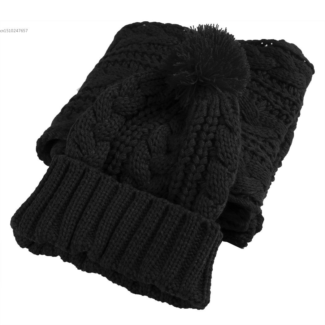 Women 2 in 1 Set New Fashion Women Thicken Scarf Set Wrap Hat Set Knitted Knitting Collars Skullcaps Warmer Top Quality  41 thicken soft knitted sleeping bag kids wrap mermaid blanket
