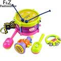 5 pcs Do Bebê Educacional Crianças Rolo Brinquedo de Tambor Instrumentos Musicais Banda Kit Crianças Infantis Do Bebê Da Menina Do Natal Gift Set Alta qualidade