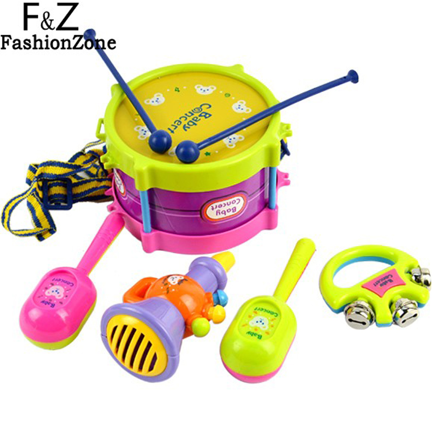 5pcs Educational Baby Kids Roll Drum Musical Instruments Band Kit Infant Children Toy Baby Girl Christmas