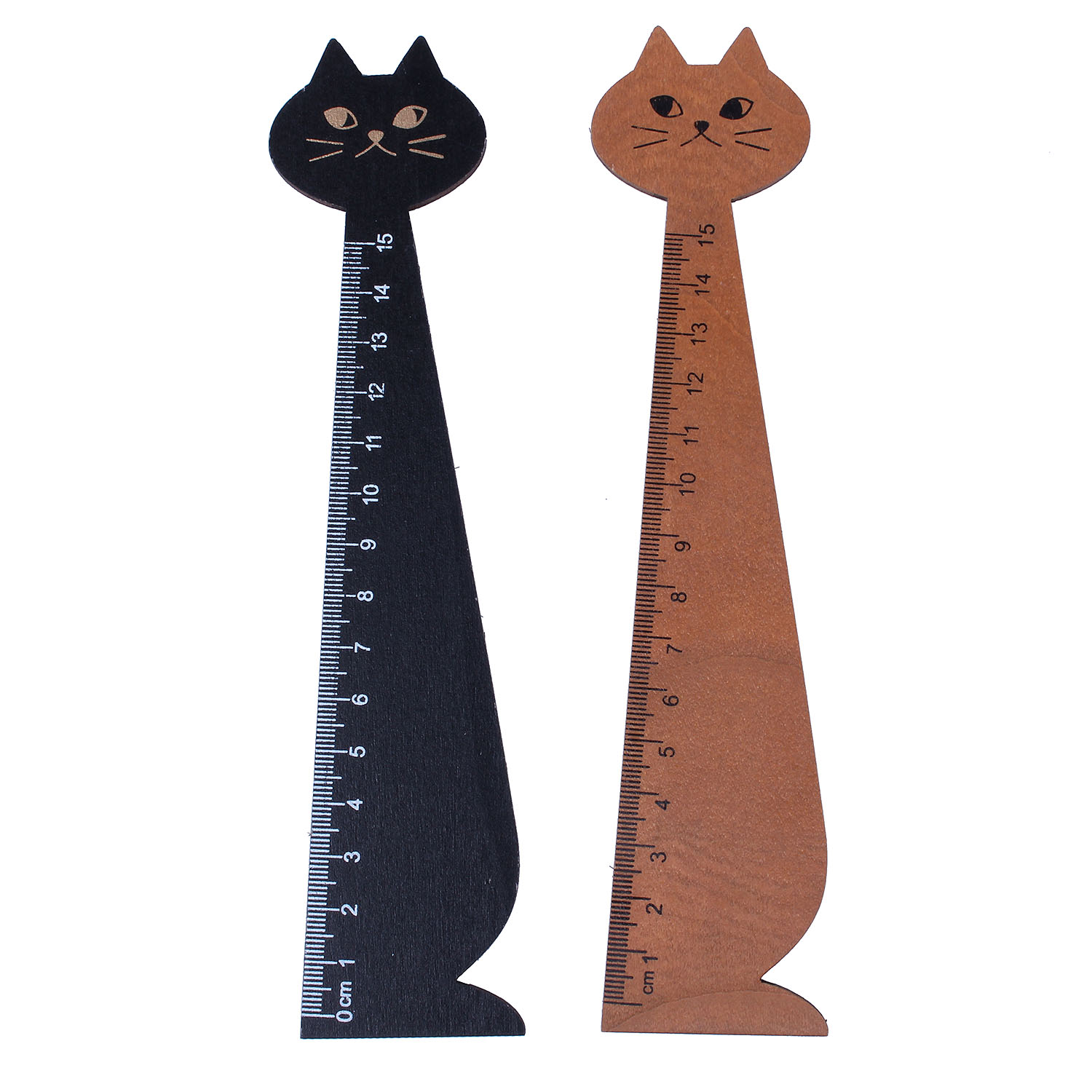2 Pcs 15 Cm Wood Straight Ruler Beautiful Cat Form Ruler For Kids School (Black, Yellow)