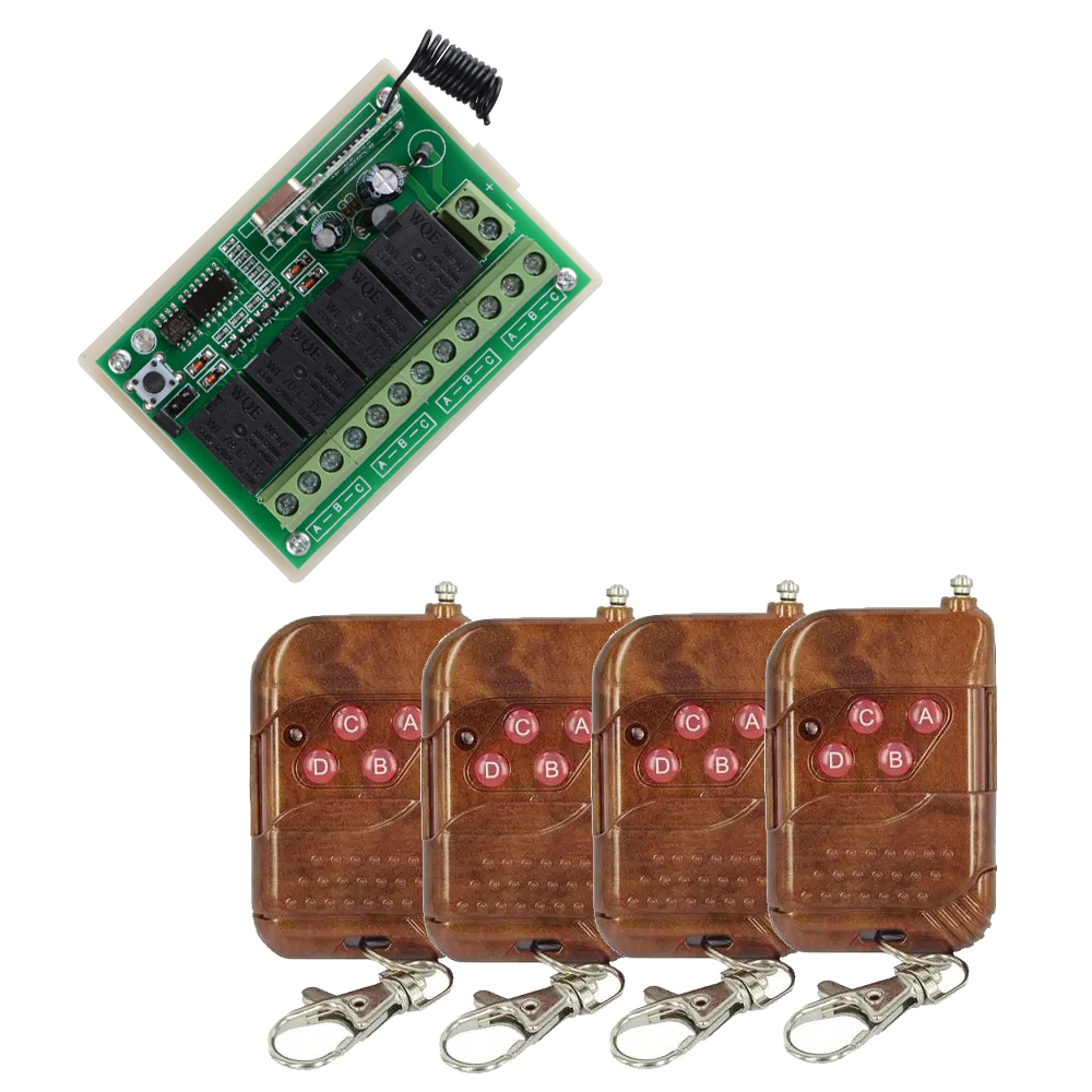 DC 12V 4CH Wireless Remote Control Relay Switch 4PCS  Transceiver with  Receiver Compatible with 2262 2260 1527 4 relay ch wireless receiver