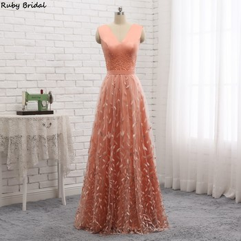 Ruby Bridal 2019 Vestidos De Fiesta Long A-line Orange Evening Dresses Tulle Beaded Lace Skirt Cheap Hot Prom Party Gown P1901