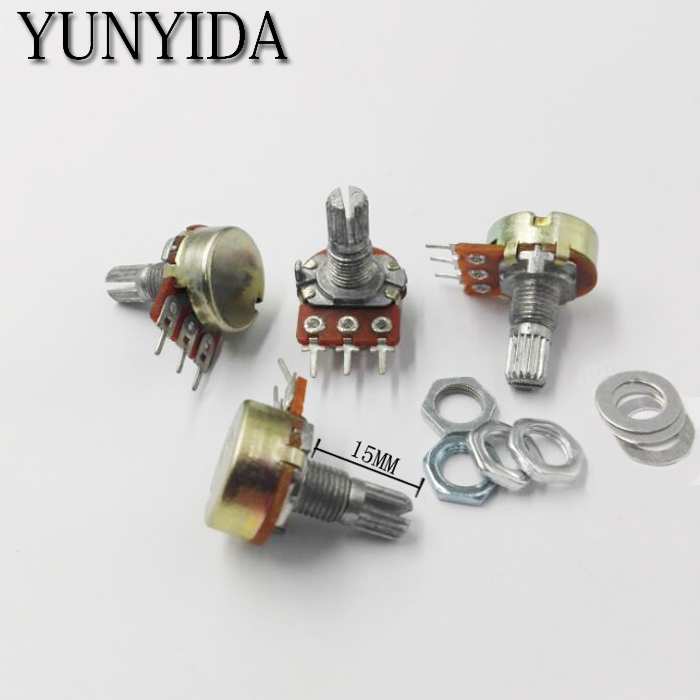5PCS WH148 3pin  Linear Potentiometer 15mm Shaft With Nuts And Washers B1K  2K B5K B10K B20K B50K B100K B250K B500K B1M
