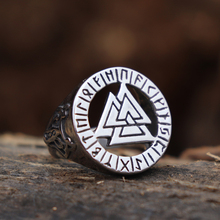 Viking Valknut Symbol Stainless Steel Rings Men Wolf Warrior Futhark Rune Amulet Ring Norse Jewelry beier 316l stainless steel fashion style men and women retro odin jewelry viking female amulet vintage norse rune words rings