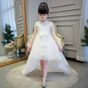 Image 5 - 2019 Hot sales Girls Kids First Communion Prince Lace Dresses Sleeveless Ball Gown Court Train Girl Birthday Wedding Dresses