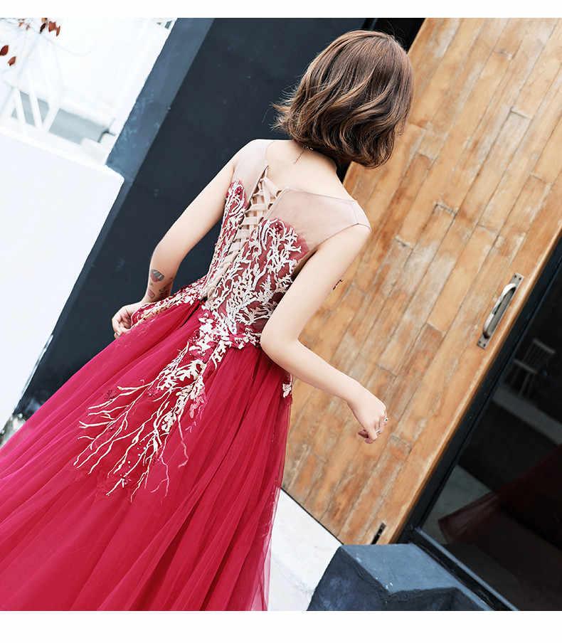 Пикантные с круглым вырезом вечернее платье Длинные тюль, аппликация, бисер Вечерние Платья вечерние Robe De Soiree Пром Abendkleider