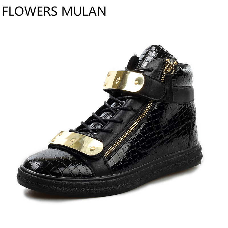 European Style Fashion High Top Men Ankle Boots Lace Up Side Zip Gold Metal Buckle Male Casual Shoes Soft Rubber Heel Footwear serene handmade winter warm socks boots fashion british style leather retro tooling ankle men shoes size38 44 snow male footwear