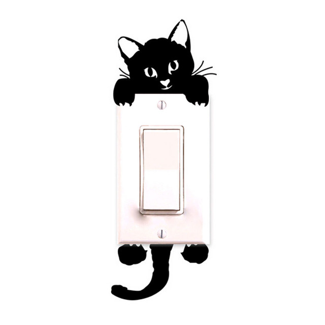 black-light Luminous Switch Sticker Home Decor Cartoon Glowing Wall Stickers Dark Glow Decoration Sticker, Cat Cute Creative