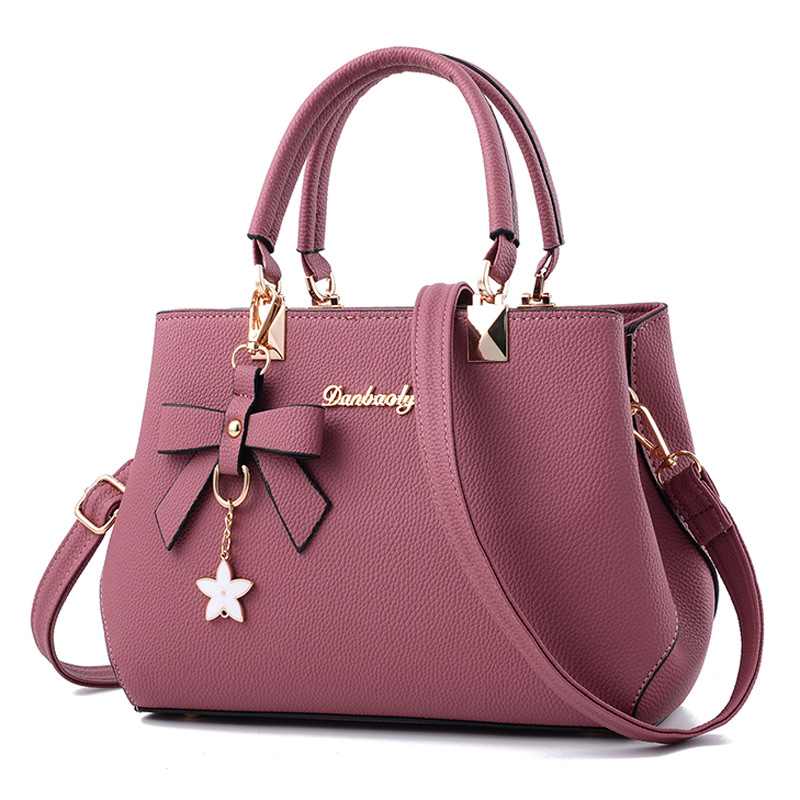 2019 Elegant Women Shoulder Bag Female Designer Luxury Handbag Plum Bow Sweet Messenger Crossbody Top-handle Tote Bag For Ladies(China)