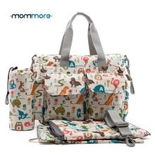 Mommore 5pcs bolsas de pañales para bebés con cojín cambiante bolso de pañales de maternidad bolso de hombro de maternidad bolso de cochecito de bebé a prueba de agua