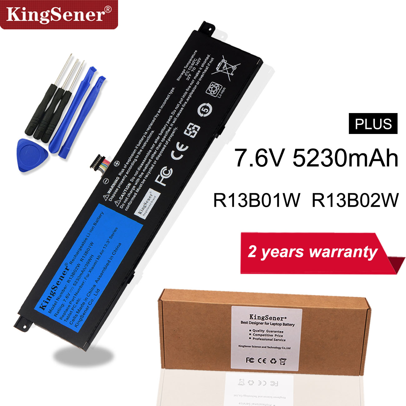"Kingsener 7.6V 5230mAh New R13B01W R13B02W Laptop Battery For Xiaomi Mi Air 13.3"" Series Tablet PC 39WH-in Laptop Batteries from Computer & Office"