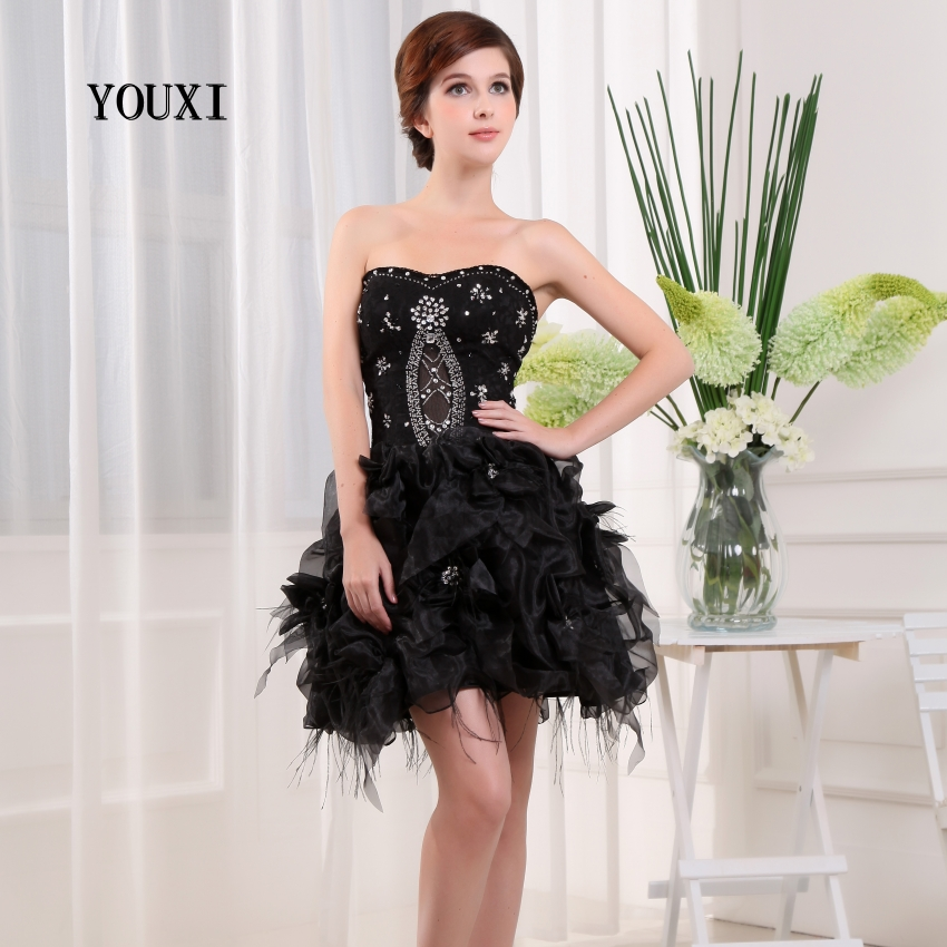 Sexy Black Organza Beaded Crystal Featherl   Cocktail     Dresses   2017 New Arrivals Hot Fashion Short Prom   Dresses