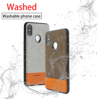 Wangcangli magnetic adsorption leather phone case for xiaomi 8 Canvas stitching Cowhide two color mobile phone protection case