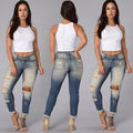 2016 New Arrive Autumn Women Denim Skinny Ripped Pants High Waist Stretch Jeans Slim Pencil Trousers